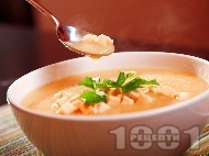 Рецепта Крем супа с картофи и крутони с къри (без мляко)